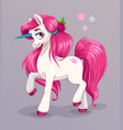 unicorn princess beautiful vector image vector image