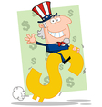 Waving Uncle Sam Riding A Dollar Symbol vector image vector image