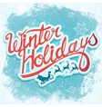 Winter holydays christmas lettering sign with vector image