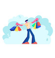 young caucasian man holding colorful shopping bags vector image