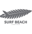 Black white surfing logo template with palm tree vector image