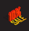 10 percent off sale red object 3d vector image