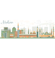 Abstract Medina Skyline with Color Buildings vector image vector image