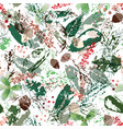abstract winter floral pattern with holly fir