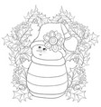 adult coloring bookpage a snowman on the vector image vector image