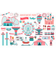 amusement park circus and fun fair theme set vector image