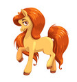 beautiful pony girl with long orange hair vector image vector image