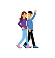 best friends walking and laughing man waving his vector image