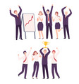 business people celebrating victory set office vector image