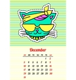 Calendar 2017 with cats December In cartoon 80s vector image vector image