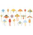 cartoon summer outdoor activity flying paper kites vector image vector image