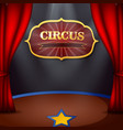 circus stage with red curtains and decorative sign vector image