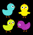 colorful bird set icon face head chicken chick vector image vector image