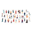 crowd of tiny people wearing stylish clothes vector image