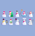 cute christmas snowman set isolated on blue vector image vector image