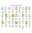 cute hand drawn alphabet letters set vector image vector image