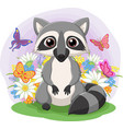 cute raccoon standing in grass vector image vector image