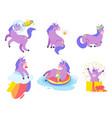 cute unicorn set vector image vector image