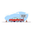 driving school car vector image vector image