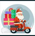 gift box pile santa claus delivery courier scooter vector image
