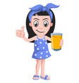 girl with orange juice on white background vector image vector image