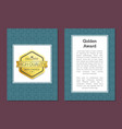 golden award poster with emblem high quality label vector image vector image