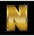 Golden font type letter N vector image