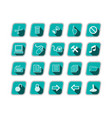 icon set with computer symbols green skew icons vector image
