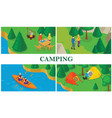 isometric summer tourism colorful composition vector image vector image