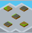 isometric way set of downward crossroad turn and vector image vector image