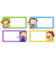 Label designs with boy and girl vector image vector image