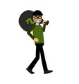 masked thief character carrying a big money bag vector image vector image