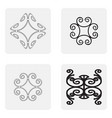 monochrome icons set with fragments of twisted met vector image
