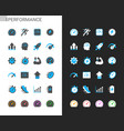 performance icons light and dark theme vector image