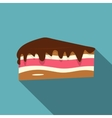 Piece of cake with chocolate cream icon flat style vector image vector image
