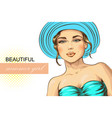 portrait of a beautiful woman in summer hat and vector image