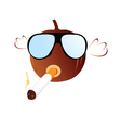 pumpkin with sunglasses and cigarette vector image vector image