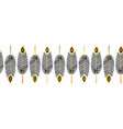 seamless border feathers black gold vector image vector image