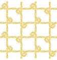 seamless nautical rope pattern golden on white vector image