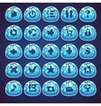 Set blue buttons for web video game in style vector image