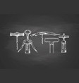 set of corkscrews on chalkboard vector image vector image
