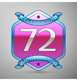 Seventy two years anniversary celebration silver vector image vector image