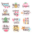 summer coming time lettering text typography art vector image vector image