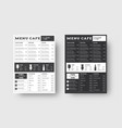 template menu for cafes and restaurants with a vector image vector image