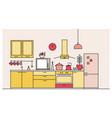 trendy interior of kitchen full of modern vector image