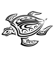 Underwater turtle in tribal style vector image