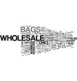 wholesale bags text word cloud concept vector image vector image