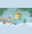 winter snowy scene vector image vector image