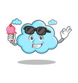 with ice cream cute cloud character cartoon vector image vector image