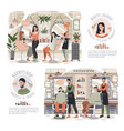 woman in beauty salon man in barber shop people vector image vector image